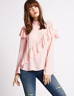 Ruffle Front High Neck Blouse