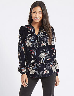 Printed Notch Neck Blouson Sleeve Blouse, NAVY MIX, catlanding