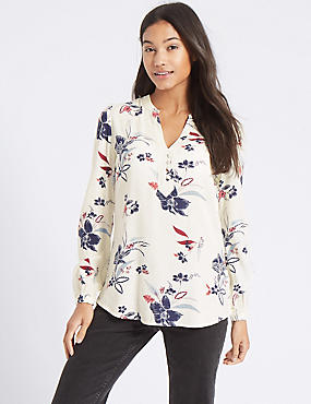 Printed Notch Neck Blouson Sleeve Blouse, IVORY MIX, catlanding