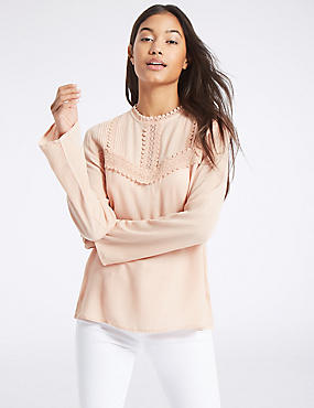 Lace Pintuck Round Neck Long Sleeve Blouse, BLUSH, catlanding