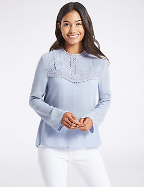 Lace Pintuck Round Neck Long Sleeve Blouse, BLUE, catlanding