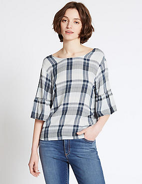 Checked Round Neck Half Sleeve Shell Top