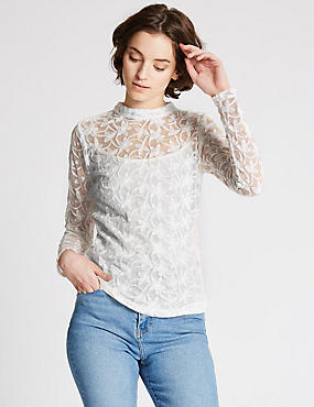 Cotton Blend Embroidered Long Sleeve Blouse