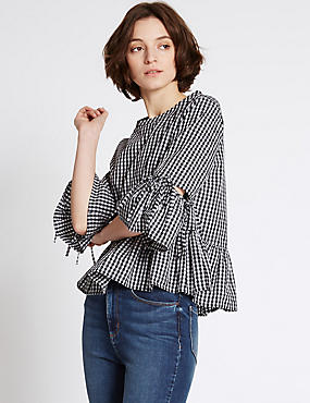 Pure Cotton Checked Flared Sleeve Blouse