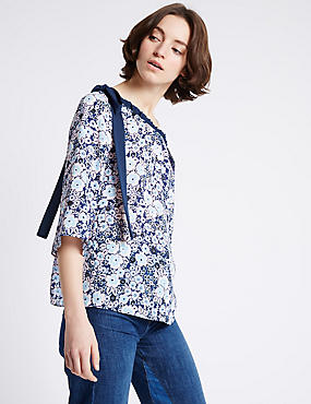 Floral Print Cold Shoulder Shell Top