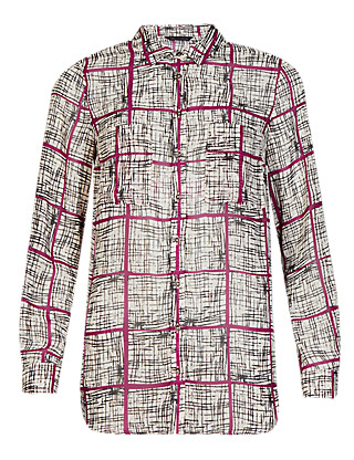 2 Pockets Checked Blouse Clothing