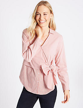 Cotton Rich Striped Wrap Front V-Neck Shirt