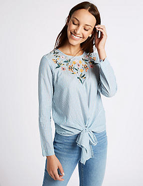 Striped Embroidered Tie Front Blouse