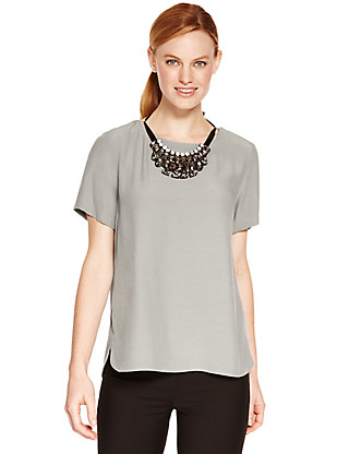Necklace Shell Top Clothing