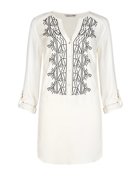 Notch Neck Embroidered Blouse