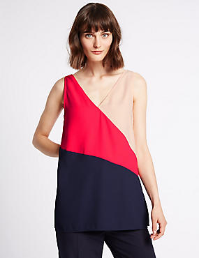 Colour Block Longline Sleeveless Vest Top