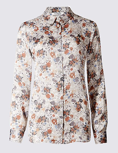 Graphic Daisy Print Long Sleeve Blouse