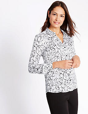 Collared Neck Floral Print Blouse