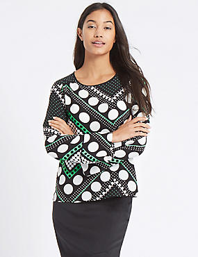 Spotted Flute Cuff Long Sleeve Blouse