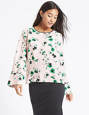 Floral Print Flute Sleeve Round Neck Blouse