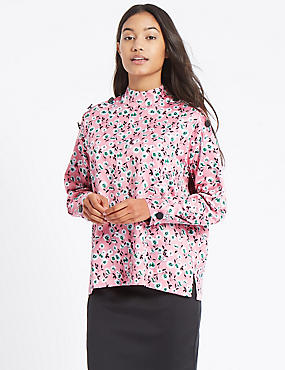 Floral Print Button Detail Blouse