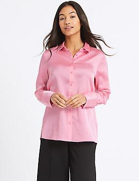 Deep Cuff Sleeve Shirt, PINK, catlanding