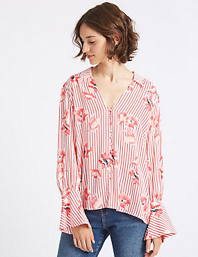 Oversized Floral Stripe Long Sleeve Shirt