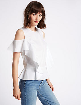 Pure Cotton Ruffle Cold Shoulder Shell Top