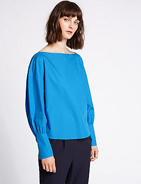 Pure Cotton Slinky Cuff Shell Top