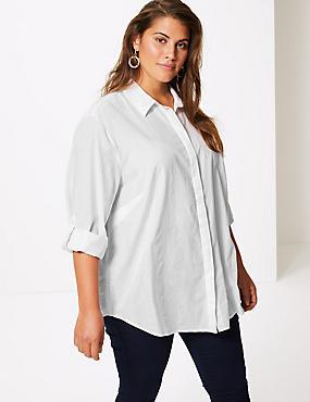 CURVE Cotton Rich Striped Shirt, WHITE, catlanding