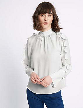 Turtle Neck Ruffle Sleeve Blouse