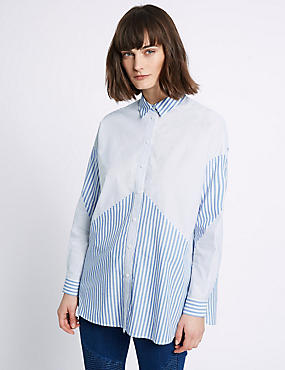 Pure Cotton Mix Stripe Long Sleeve Shirt