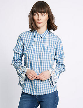 Pure Cotton Gingham Ruffle Sleeve Shirt