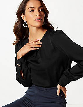 Satin Round Neck Long Sleeve Blouse , BLACK, catlanding