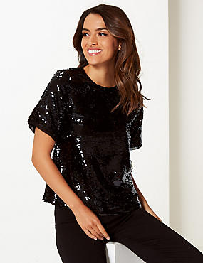 Embellished Round Neck Short Sleeve Blouse , BLACK, catlanding