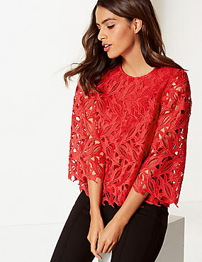 Lace Round Neck 3/4 Sleeve Blouse, RED, catlanding