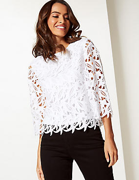 Lace Round Neck 3/4 Sleeve Blouse, SOFT WHITE, catlanding