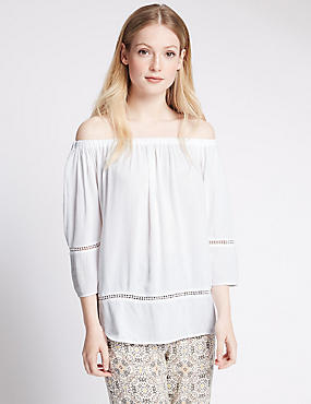PETITE Embroidered Bardot Top