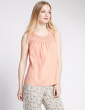 PETITE Pure Cotton Lace Yoke Sleeveless Top