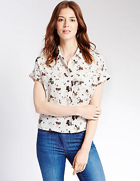 Loose Fit Floral Cropped Boxy Shirt