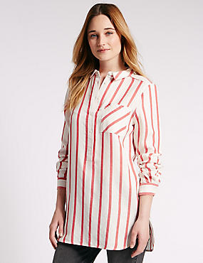 Loose Fit Longline Striped Shirt