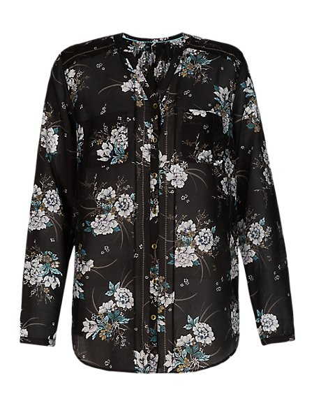 Floral Peasant Shirt with Silk