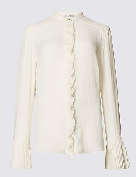Frill Cuff Notch Neck Long Sleeve Blouse