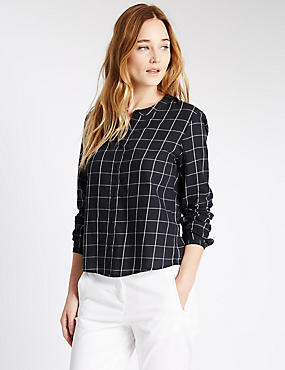 Pure Cotton Collarless Checked Boxy Shirt