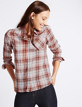 Pure Cotton Oversize Checked Shirt