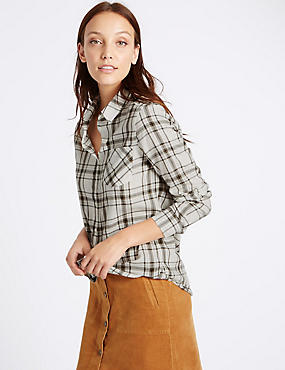 Oversized Pure Cotton Checked Shirt