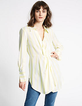 Striped Twisted Long Sleeve Shirt , YELLOW MIX, catlanding