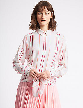 Striped Tie Front Long Sleeve Shirt