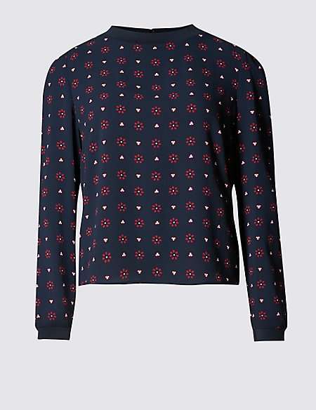 PETITE Floral Print Long Sleeve Shell Top