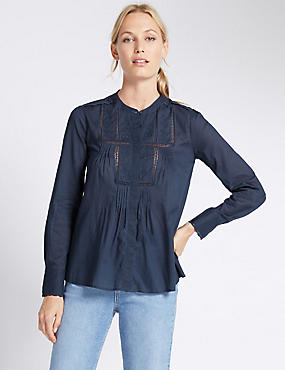 Pure Cotton Pin-Tuck Blouse