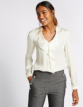 Long Sleeve Satin Ruffle Blouse