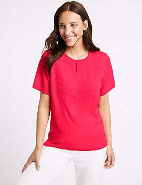 Round Neck Short Sleeve Blouse , PINK, catlanding