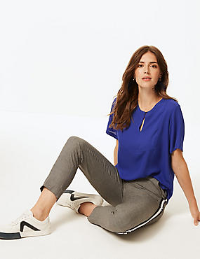 Round Neck Short Sleeve Blouse , ULTRAVIOLET, catlanding