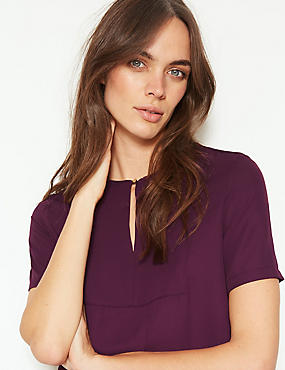 Round Neck Short Sleeve Blouse , BURGUNDY, catlanding