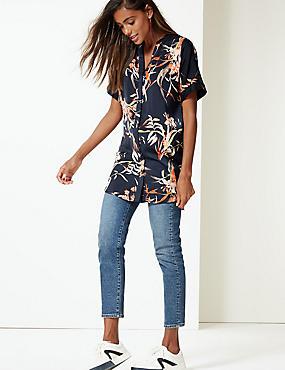 Floral Print Satin Short Sleeve Blouse , NAVY MIX, catlanding